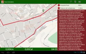 captura de  pantalla de la app Rutas Saludables - UGR